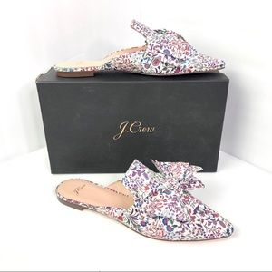 NIB J.Crew Liberty Bow Floral Pointed Toe Mule